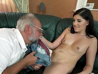 Miranda Miller helps at bottom an aged gentleman