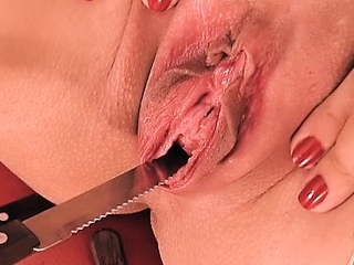 Peehole fuck & gaping! knife & forks werid bawdy cleft insertion!