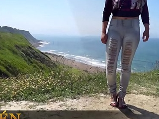 Amateur legal age teenager showing cameltoe in tight jeans