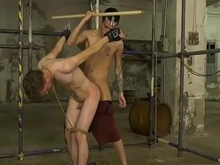 Young homo Johnny Polak trussed up before anal penetration