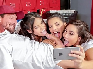SCAM ANGELS &ndash_ Three lustful brunettes Gina Valentina, Karlee Superannuated and Cindy Starfall think make an issue of world of couch in make an issue of locker room