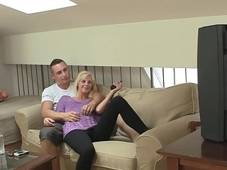 Shaved-pussy blonde ride his hard angry flannel