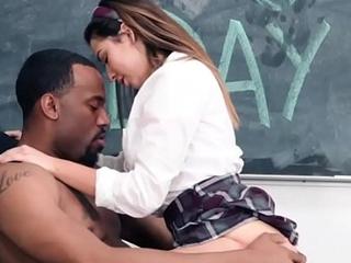 Brunette fucks with her black instructor