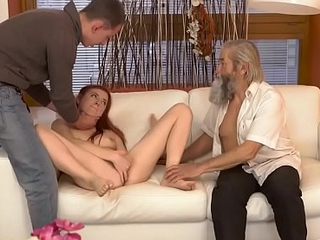 DADDY4K. Cutie receives sympathetic castigation from boyfriend and old daddy