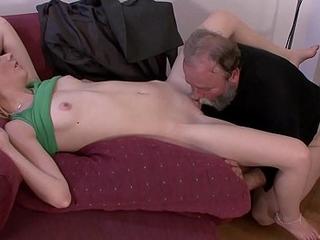 Bearded old guy punish son'_s blonde GF