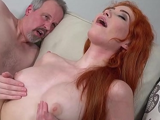 Young redhead stuffed less grandpas weasel words and jism