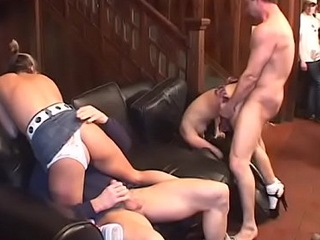 Horny topless slut gets cocked on couch shagging hardcore