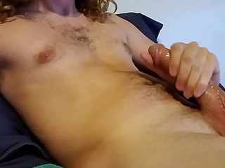 Stroking my big cock with oil