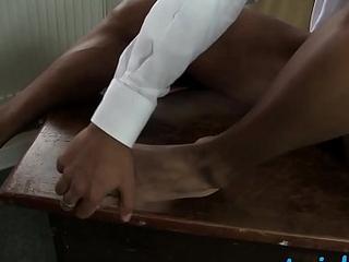 Handsome schoolboy feet fiend jacks off in the balance cumming