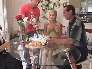 Blonde mother-in-law and dad fuck son'_s go steady with