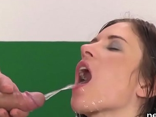 Flawless honey gets her juicy twat full of warm void urine coupled with squirts