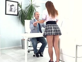 Artful Old Teacher - Irresistible babe entices experienced bus