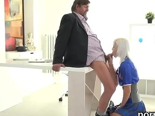 Lovable schoolgirl gets teased and poked by aged cicerone