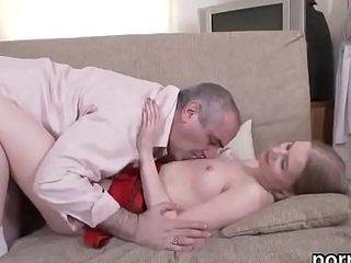 Lovely college girl gets tempted added to rode overwrought elderly schoolteacher