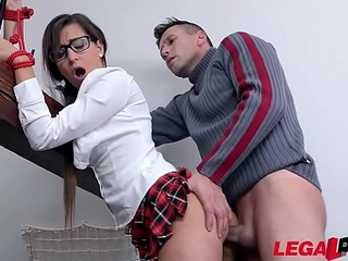 Submissive schoolgirl Cindy Loarn pees to the fullest dominated, spanked &amp_ fucked hard-core GP175