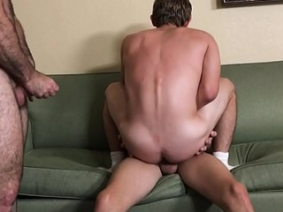 Young Lad Step Lady And His Lad Best Friend Threesome With Bear Step Dad After Workout