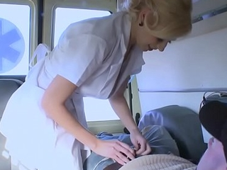 The nurse is drilled near the ambulance