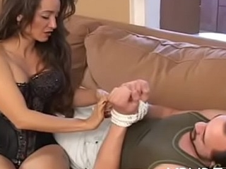 Young busty babe smothering an senior guy in the air her wobblers and botheration