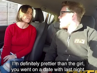 Counterfeit Driving School Jealous learner with excellent tits desires hard fucking
