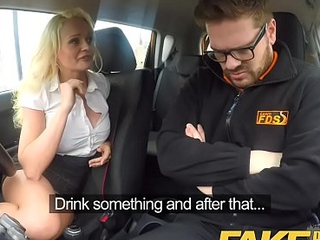Fake Driving School Bus has horny car fuck with busty blonde Mummy
