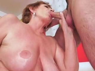 Saggy european granny cockriding young beggar