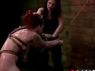 Strapon lezzies smash a horny redhead 18yo slut