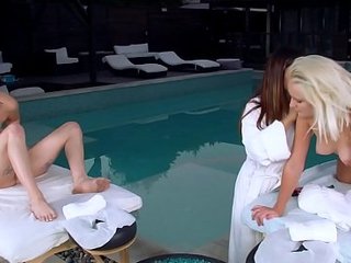 GIRLS Absent Dropped - Youthful Clubhouse Sisters Rub-down Coils Into Sexy Fuckfest