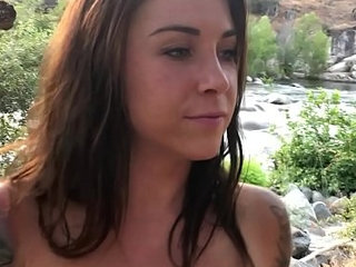 Hiker babe Gladness Feline is horny added to deep-throats some locate parts